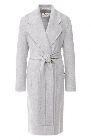 Шерстяное пальто Acne Studios. Цвет: серый