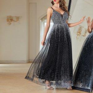Вечернее платье с принтом сетчатый SHEIN. Цвет: черный и белый
