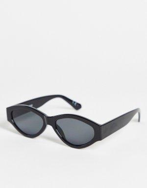 Круглые солнцезащитные очки в черной оправе с дымчатыми стеклами -Черный ASOS DESIGN