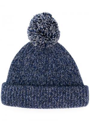 Вязаная шапка бини Acne Studios. Цвет: синий