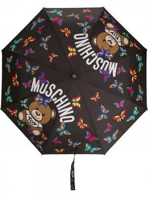 Зонт с логотипом Moschino. Цвет: черный