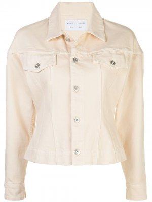 Присборенная джинсовая куртка Proenza Schouler White Label. Цвет: белый