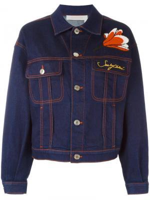 Джинсовая куртка с цветочной аппликацией See By Chloé. Цвет: синий
