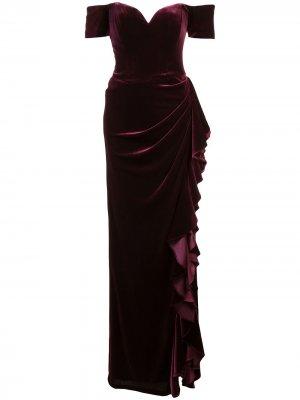 Вечернее платье с открытыми плечами и оборками Badgley Mischka. Цвет: розовый