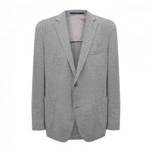 Пиджак из хлопка и льна Eduard Dressler. Цвет: серый