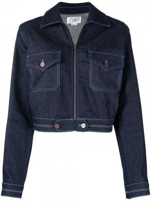 Джинсовая куртка на молнии с разноцветной строчкой Victoria Beckham. Цвет: синий