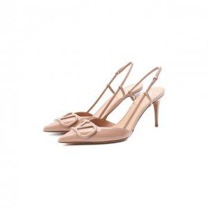 Кожаные туфли Garavani Vlogo Valentino. Цвет: розовый