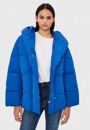 Куртка утепленная Bershka. Цвет: синий
