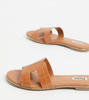 Светло-коричневые шлепанцы с вырезами для широкой стопы Wide Fit-Коричневый цвет Dune