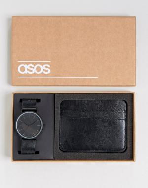 Набор с часами и визитницей ASOS. Цвет: черный