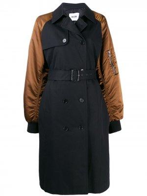 Двубортное пальто-бомбер MSGM. Цвет: черный