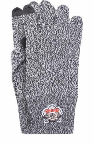 Шерстяные перчатки Kenzo. Цвет: серый