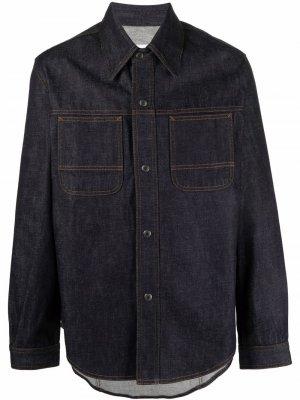 Long-sleeve denim shirt jacket AMI Paris. Цвет: синий