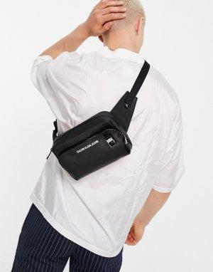 Черная сумка-кошелек на пояс из искусственной кожи с логотипом -Черный цвет Calvin Klein Jeans