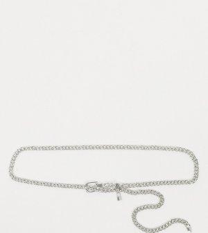 Серебристый ремень из массивной цепочки с подвеской -Серебряный Glamorous