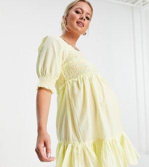 Присборенное платье мини лимонно-желтого цвета с расклешенной юбкой, квадратным вырезом и необработанным краем ASOS DESIGN Maternity-Желтый Maternity