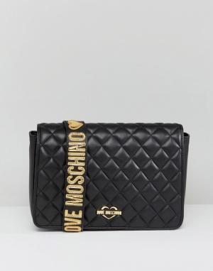Стеганая сумка на плечо Love Moschino. Цвет: черный