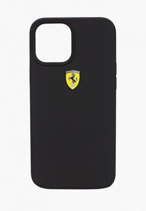 Чехол для iPhone Ferrari 12 Pro Max (6.7), On-Track Liquid silicone with metal logo Black. Цвет: черный