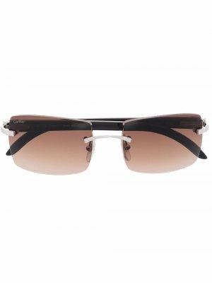 Солнцезащитные очки C Décor в квадратной оправе Cartier Eyewear. Цвет: черный
