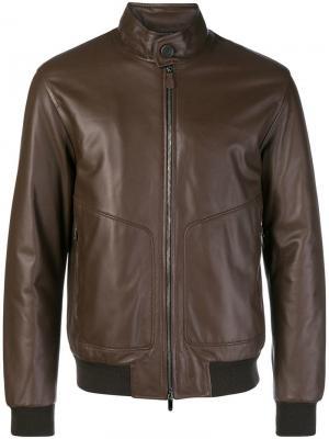 Кожаная куртка Z Zegna. Цвет: коричневый