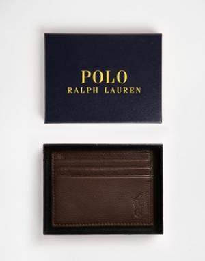 Коричневая кожаная визитница -Коричневый Polo Ralph Lauren