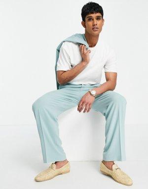 Пастельно-зеленые классические брюки из мягкого крепа с широкими штанинами -Зеленый цвет ASOS DESIGN