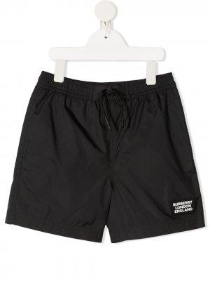 Плавки-шорты с кулиской Burberry Kids. Цвет: черный