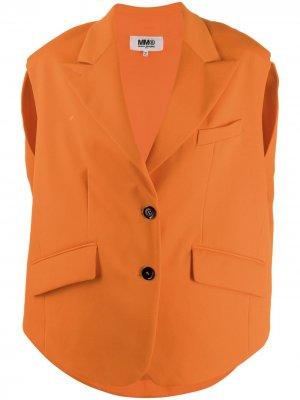 Однобортный жилет оверсайз MM6 Maison Margiela. Цвет: оранжевый