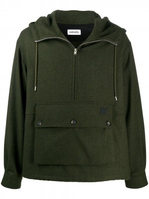 Куртка с кулиской и воротником на молнии Kenzo. Цвет: зеленый