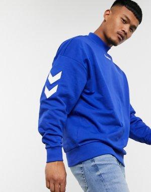 Синий свободный свитшот с ложным воротником Hummel