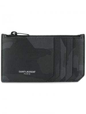 Камуфляжная визитница Saint Laurent. Цвет: черный