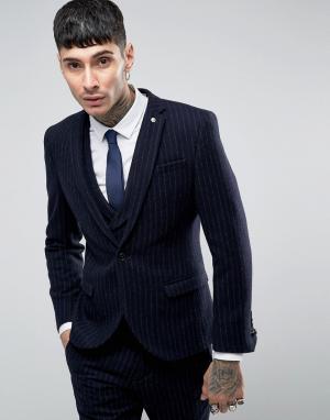Пиджак скинни с начесом в тонкую полоску Noose & Monkey. Цвет: темно-синий