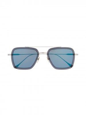 Солнцезащитные очки Flight в квадратной оправе Dita Eyewear. Цвет: серебристый
