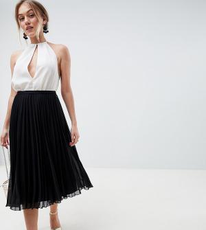 Плиссированная юбка миди ASOS DESIGN Petite-Черный Petite