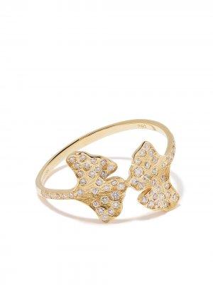 Кольцо Ginkgo из желтого золота с бриллиантами Aurelie Bidermann. Цвет: золотистый