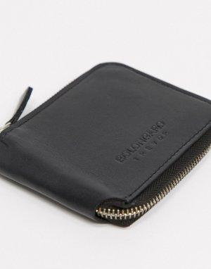 Кожаный кошелек на молнии -Черный цвет Bolongaro Trevor