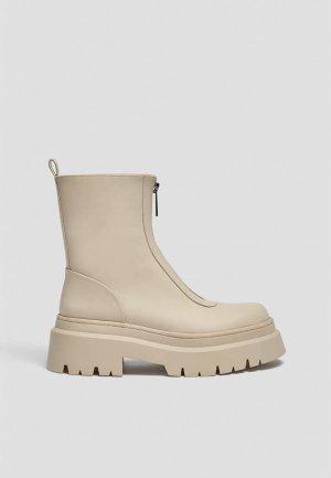 Ботинки Pull&Bear. Цвет: бежевый