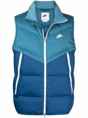 Дутый жилет Windrunner с вышивкой Nike. Цвет: синий