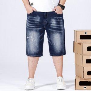 Мужской Джинсовые шорты-бермуды рваный SHEIN. Цвет: темно-синий