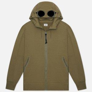 Мужская толстовка Diagonal Raised Fleece Goggle Hoodie C.P. Company. Цвет: зелёный
