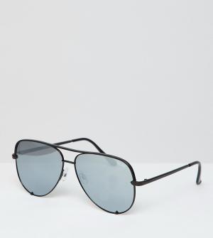 Солнцезащитные очки-авиаторы в черной оправе и бесплатный чехол для солнцезащитных очков x Desi эксклюзивно ASOS Quay Australia. Цвет: черный