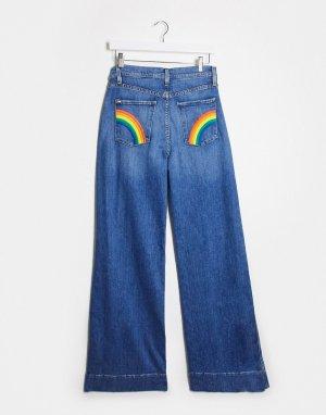 Синие расклешенные джинсы с завышенной талией Jeans-Синий Alice & Olivia