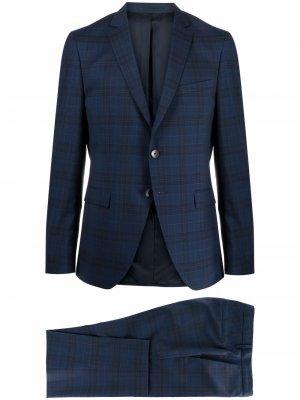 Клетчатый костюм с однобортным пиджаком Boss Hugo. Цвет: синий