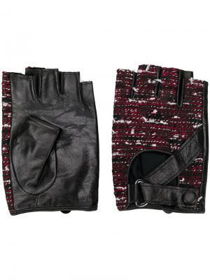 Перчатки без пальцев с твидовыми панелями Karl Lagerfeld. Цвет: красный