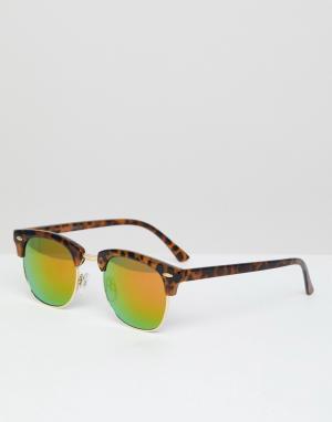 Солнцезащитные очки в черепаховой оправе со светоотражающими стеклами -Коричневый Jack & Jones