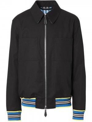 Куртка Harrington с отделкой в полоску Burberry. Цвет: черный