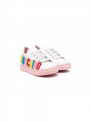 Кроссовки с аппликацией и логотипом Moschino Kids. Цвет: белый