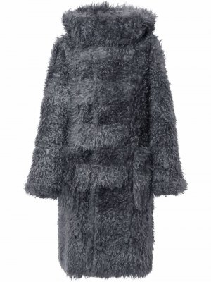 Фактурный дафлкот с капюшоном Burberry. Цвет: серый
