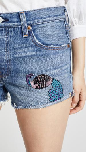 Levis x Peacock Patch & Rising Sun Shorts Anna Sui
