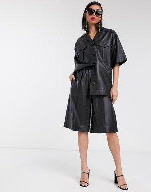 Черные кожаные шорты Boutique-Черный Topshop